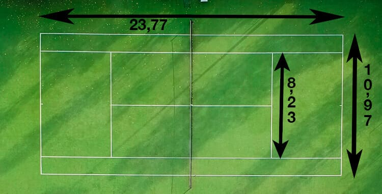 Area of a tennis court