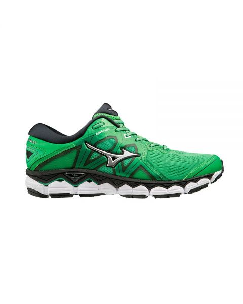 b84ff5773465 Mizuno Wave Sky 2 Green - Maximum shock absorption and stability