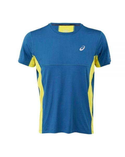 ba0b13bd Asics SS Top Azul Amarillo Flúor - Camiseta para caballero