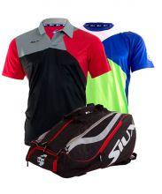 PACK SIUX MASTERCOMBI RED PADEL RACKET BAG, ZEUS BLACK RED POLO SHIRT AND ZEUS GREEN SHIRT