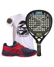 PACK NOX MERCURY ATTACK PRO AND ASICS BELA 5 SG BLUE RED PADEL SHOES