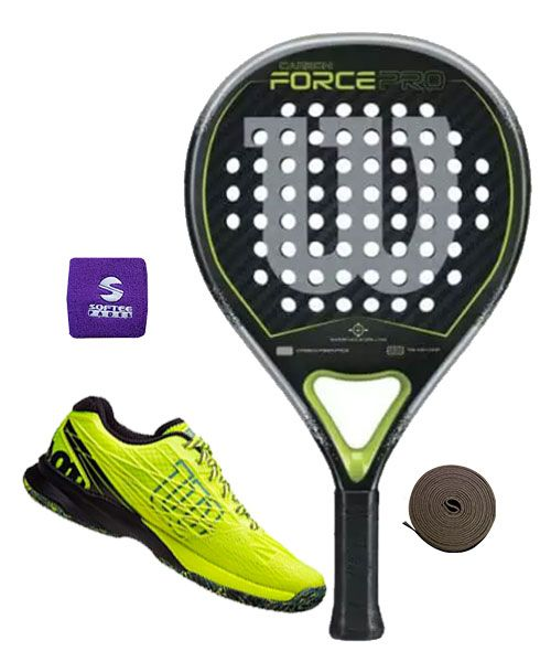 9b112d7e PACK WILSON CARBON FORCE PRO AND WILSON KAOS SAFETY YELLOW PADEL SHOES