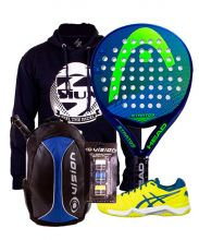PACK HEAD STRATOS PADEL RACKET, VISION BACKPACK AND ASICS GEL CHALLENGER 11 PADEL SHOES