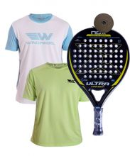 PACK NOX ULTRA CARBON GELB UND 2 WINGPADEL T-SHIRTS