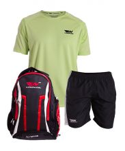 PACK WINGPADEL WOMBER RED BACKPACK, W-QUILEN BLACK SHORTS AND W-OWEN GREEN SHIRT