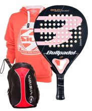 PACK WOMAN PADEL RACKET BULLPADEL GOLD 3.0 AND BACKPACK VISION RED