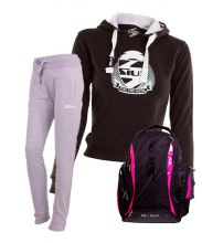 PACK SIUX DIABLO BACKPACK, GREY SWEATPANTS AND BLACK SWEATSHIRT