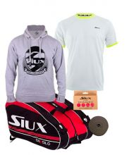 PACK SIUX DIABLO GRANPH PADEL RACKET BAG, SIUX PREMIUM GREY BOY SWEATSHIRT AND SIUX CORA WHITE BOY SHIRT