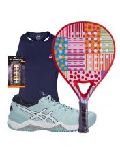 PACK DE RAQUETTE AGATHA DOTS AND STRIPERS ET CHAUSSURES ASICS GEL CHALLENGER 11 CLAY