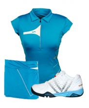 PACK VARLION V-PRO MAX S13 WHITE PADEL SHOES, MD12S08 BLUE SKIRT AND MD13W02 TURQUOISE POLO SHIRT