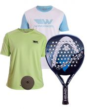 PACK HEAD GRAPHENE TORNADO CONTROL LTD BLAU UND ZWEI SHIRTS WINGPADEL