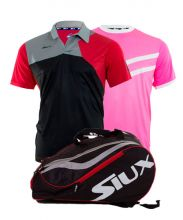 PACK SIUX MASTERCOMBI RED PADEL RACKET BAG, ZEUS BLACK RED POLO SHIRT AND ZEUS PINK SHIRT