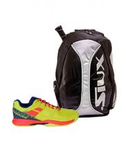 PACK BABOLAT PULSION WPT YELLOW PADEL SHOES AND SIUX SILVER BACKPACK