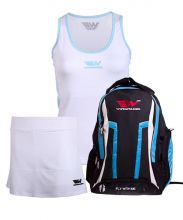 PACK WINGPADEL WOMBER BLUE BACKPACK, W-MIRTA WHITE SKIRT AND W-LISA WHITE SHIRT