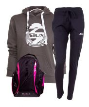 PACK SIUX DIABLO FUCHSIA BACKPACK, BLUE SWEATPANTS AND BELICE GREY WOMEN SWEATSHIRT