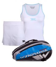 PACK WINGPADEL ATTACK PADEL RACKET BAG, W-MIRTA WHITE SKIRT AND  W-LISA BLUE SHIRT