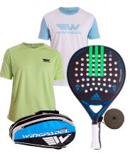 PACK ADIDAS NITROCHARGE CTRL 1.8 BLUE, WINGPADEL PADEL RACKET BAG AND TWO SHIRTS