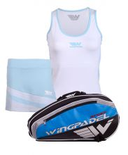 PACK WINGPADEL ATTACK PADEL RACKET BAG, W-KEILA WHITE SKIRT AND W-LISA BLUE SHIRT