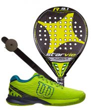 PACK STAR VIE R9.1 DRS CARBON ALUMINIUM 2016 Y ZAPATILLAS WILSON KAOS CLAY COURT LIMA