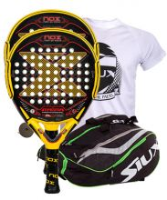 PACK 2 NOX MAGMA PADEL RACKETS AND SIUX MASTERCOMBI GREEN PADEL RACKET BAG