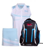 PACK WINGPADEL WOMBER BLUE BACKPACK, W-KEILA BLUE SKIRT AND W-LIA BLUE SHIRT