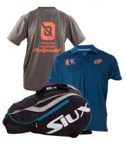 PACK SIUX MASTERCOMBI BLUE PADEL RACKET BAG, POLO CENERE AND BULLPADEL PAQUITO NAVARRO SHIRT