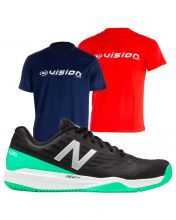 PACK NEW BALANCE MCH796 NEGRO Y 2 CAMISETAS VISION