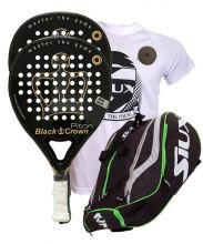 PACK 2 BLACK CROWN PITON PADEL RACKETS AND SIUX MASTERCOMBI GREEN PADEL RACKET BAG