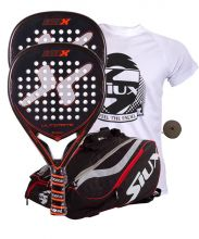 PACK 2 NOX ULTIMATE PADEL RACKETS AND SIUX MASTERCOMBI RED PADEL RACKET BAG