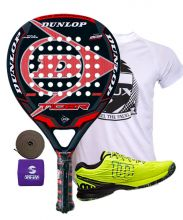 PACK DUNLOP TIGER ROJA Y ZAPATILLAS WILSON KAOS SAFETY AMARILLO