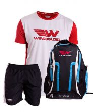 PACK WINGPADEL WOMBER BLUE BACKPACK, W QUILEN BLACK SHORTS AND W LALO RED SHIRT