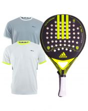 PACK ADIDAS NITROCHARGE CTRL 1.8 YELLOW PADEL RACKET AND SIUX WHITE GREY SHIRTS