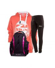 PACK SIUX BACKPACK, BLACK SWEATPANTS AND BELICE CORAL WOMEN SWEATSHIRT
