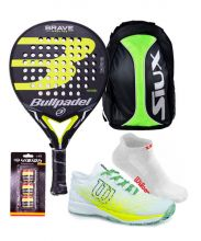 PACK PACK BULLPADEL BRAVE, MOCHILA SIUX Y ZAPATILLAS WILSONBRAVE PN PADEL RACKET, SIUX TRAIL BACKPACK AND WILSON PADEL SHOES