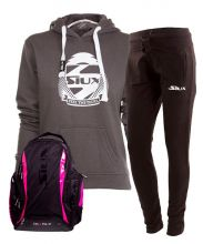 PACK SIUX BACKPACK, BLACK SWEATPANTS AND BELICE GREY WOMEN SWEATSHIRT