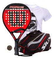 PACK WILSON CARBON FORCE AND SIUX MASTERCOMBI RED PADEL RACKET BAG