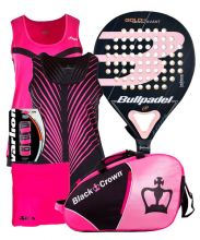 PACK BULLPADEL GOLD WOMAN 3.0 PADEL RACKET AND JHAYBER WOMAN SHIRT