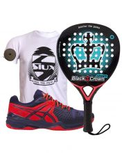 PACK BLACK CROWN SPIDER ET CHAUSSURES ASICS GEL BELA 5 SG BLEU ROUGE