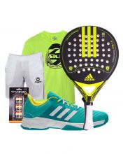 PACK ADIDAS NITROCHARGE CTRL 1.8 PADEL RACKET AND ADIDAS BARRICADE COURT 3 PADEL SHOES