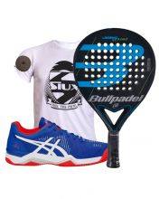 PACK BULLPADEL LEGEND 3.0 AND ASICS BELA 6 SG BLUE RED PADEL SHOES