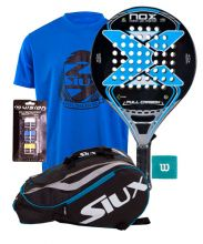 PACK NOX FULL CARBON BLUE AND MASTERCOMBI BLUE PADEL RACKET BAG