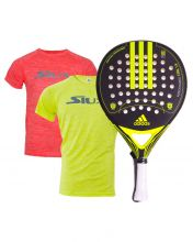 PACK ADIDAS NITROCHARGE CTRL 1.8 YELLOW PADEL RACKET AND SIUX SHIRTS