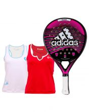 PACK MUJER ADIDAS FASTER PINK 1.9 PADEL RACKET AND ECLYPSE SHIRTS