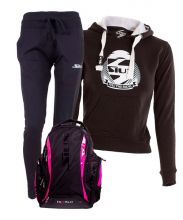 PACK SIUX DIABLO FUCHSIA BACKPACK, NAVY SWEATPANTS AND BLACK SWEATSHIRT