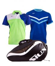 PACK SIUX SPARTAN PADEL RACKET BAG, ZEUS GREEN POLO SHIRT AND ZEUS BLUE SHIRT