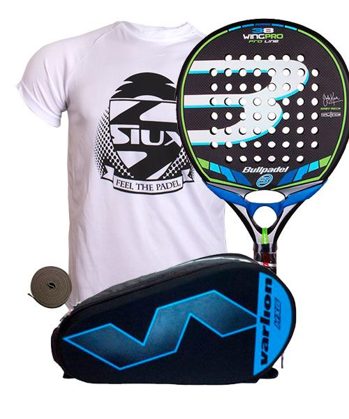PACK BULLPADEL WING PRO PALETERO VARLION HEXAGON AZUL Y CAMISTA SIUX