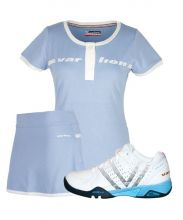 PACK VARLION V-PRO MAX S13 PADEL SHOES, ORIGINAL SKY BLUE SKIRT AND ORIGINAL SKY BLUE SHIRT