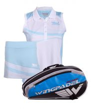 PACK WINGPADEL ATTACK PADEL RACKET BAG, W-KEILA BLUE SKIRT AND W-LIA BLUE SHIRT