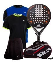 PACK ADIDAS REAL POWER CTRL LTD, SIUX RED PADEL RACKET BAG AND OUTFIT
