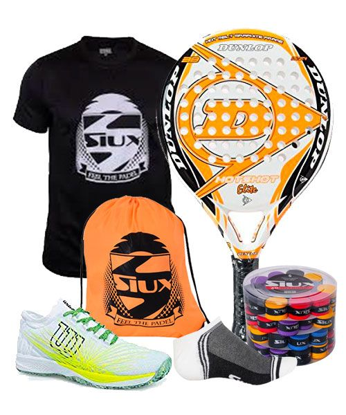 PACK DUNLOP HOT SHOT ELITE PADEL RACKET, WILSON PADEL SHOES AND SIUX BACKPACK